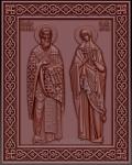 Резная икона Священномученик Kипpиан и мученица Иустина