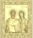 Резная икона Священномученик Kипpиан и мученица Иустина Вариант2